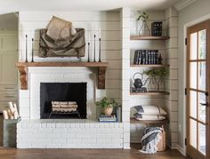 Rustic Farmhouse Fireplace Inspiration From Fixer Upper – Farmhouse Blooms – Farmhouse Fireplace Mantels Fireplace Shelves, Shiplap Fireplace, Farmhouse Fireplace, Home Fireplace, Fireplace Remodel, Farmhouse Interior, Fireplace Design, Fireplace Mantels, Fireplace Ideas