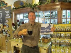 """""""It's FANbruary! Here's Randy giving Social Media a big thumbs up while sipping on a hot cup of Kona Blend in the Door County Coffee Cafe. We dig staying in touch with all of you and can't get enough of your coffee stories. So CHEERS and thumbs up to you, our loyal FAN! You rock!!"""""""