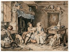 Young Couple with Two Small Children in a Laundry by Sigmund Freudenberger