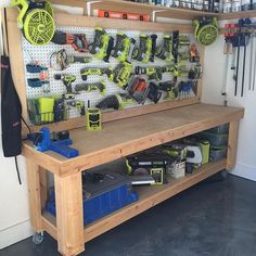 34 garage work shop bench ideas, from needles to nails: workbench Woodworking Shop, Woodworking Plans, Woodworking Projects, Intarsia Woodworking, Woodworking Equipment, Woodworking Basics, Woodworking Workshop, Woodworking Videos, Welding Projects