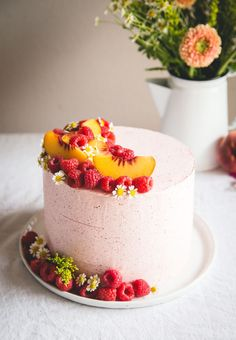 Almond Cake w/ Peach Mascarpone Filling & Raspberry Buttercream