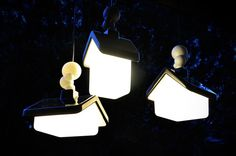 Autumn is a small Sydney based design studio run by Kristian Aus. This design studio has designed creative lamps called House Lights. These lamps look like small cute houses from fairy-tales and children's stories. They are made simply from a combination of rotational-moulded PE and rubber parts. Just a few lights create a whole village.