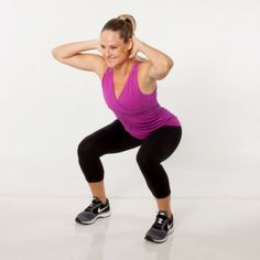 Stand with feet slightly wider than hip-width apart, hands clasped behind head. Pushing hips back, lower into a squat, tracking knees over t...