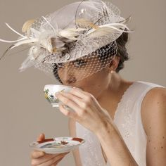 High Tea Bridal Hat Birdcage Veil Feather by EricaElizabethDesign, Etsy,   ✿ pin by Colette's Cottage ✿