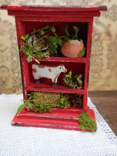 ooak miniature dollhouse farm shelf Red by Mosswayminiatures