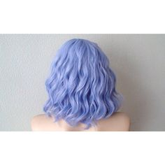 Pastel lavender blue beach wavy wig. Short curly/wavy hairstyle wig. ($90) ❤ liked on Polyvore featuring beauty products, haircare, hair styling tools, hair, blablabla, blue, pictures, wigs y curly hair care