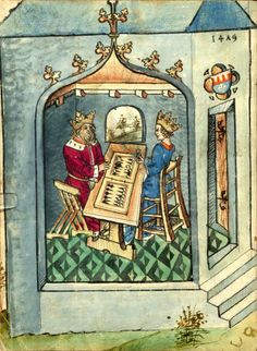Salman und Morolf, by Hans Dirmstein, [S.l.], 1479 [Ms. germ. qu. 13] -- urn:nbn:de:hebis:30:2-14571 - Bildnr.7 = f°1v illustration with a backgammon (Wurfzabel in German ; jeu de tables in French)