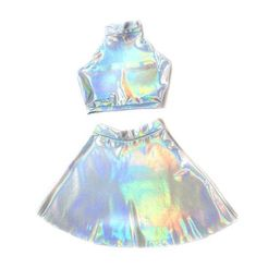 HOLOGRAPHIC TWIN Set Festival Clothing Sleeveless Turtle Neck Crop and High Waist Skater Skirt Matching Set, Hologram, Black Holographic, - It's not magic-its fashion sense Rave Outfits, Cool Outfits, Summer Outfits, Holographic Fashion, Holographic Dress, Mode Kawaii, Teen Fashion, Fashion Outfits, Twin Set