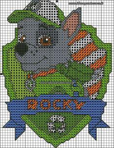 PATRON PUNTO DE CRUZ PATRULLA CANINA ROCKY                                                                                                                                                                                 Más Cross Stitch For Kids, Cross Stitch Baby, Cross Stitch Charts, Cross Stitch Designs, Cross Stitch Patterns, Beaded Cross Stitch, Crochet Cross, Cross Stitch Embroidery, Paw Patrol Rocky