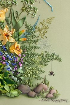 Silk ribbon embroidery - garden edge