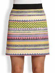 MILLY Mini Raffia Pencil Skirt