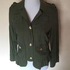 Juicy Couture military Jacket NWOT Ruffled hem 55% linen 45% viscose Juicy Couture Jackets & Coats