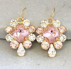 Check out this item in my Etsy shop https://www.etsy.com/il-en/listing/240649609/blush-crystal-bridal-earringsswarovski