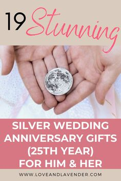 19 Stunning Silver Wedding Anniversary Gifts (25th Year) for Him & Her | The 25th wedding anniversary is a massive milestone and celebrating is a must! Whether you're planning a once-in-a-lifetime trip or something closer to home, we've hunted down some gorgeous gifts to make the day even more memorable | Click on the image to see all our gift ideas and inspiration Love & Lavender Presents For Your Boyfriend, 25 Wedding Anniversary Gifts, Next Wedding, Silver Gifts, Couple Gifts, Valentine Gifts, Closer, Lavender, How To Memorize Things