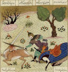 Gushtâsp tuant un unicorne    Firdawsî, Shâh-Nâma  Iran, Shîrâz, vers 1490  BNF, Manuscrits, Supplément persan 1280 fol. 263v