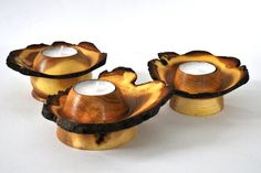 Three tea-lights turned from an acacia log by oldfern.co.uk