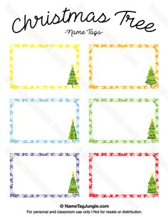 Free Printable Christmas Tree Name Tags The Template Can Also Be Used For Creating Items