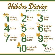 ¡Hoy te dejamos 10 hábitos saludables que mejorarán tu día a día!  ¡Feliz viernes y mejor fin de semana!  FarmaciaVida.com #HábitosSaludables #vidasana #salud