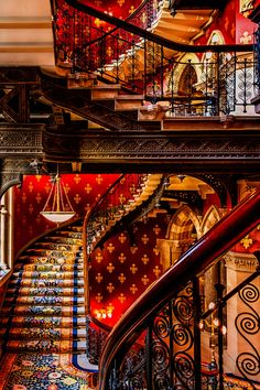 Staircases in St Pancras Renaissance Hotel, London UK |