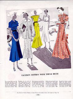 1930's Pictorial Review Fashion article & Patterns -4 Pages ---=871
