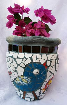 Birds plant pot in blue and white Height 23 cm