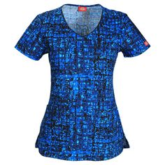 Dickies Womens Signature Everyday Scrubs V-Neck Abstract Print Scrub Top Style DK700X5 - MXDY Sizes XS - L