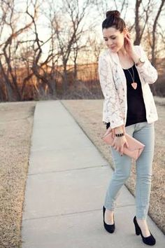 White lace blazer outfit