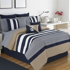 Teen Boy Bedding, Shop Duvet Covers & Comforters: The Home Decorating Company Nautical Bedding, Striped Bedding, Gray Bedding, Boho Bedding, Full Comforter Sets, King Comforter, Queen Bedding, King Bedding Sets, Deco Ethnic Chic
