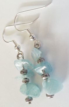 Blue Topaz Gemstone Chip Dangling Earrings by GracefulServices, $10.00