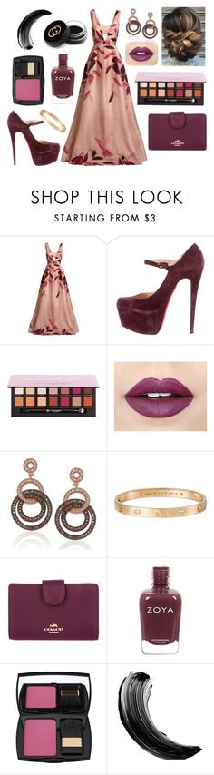 """""""Tint Of Plum"""" by marip25 ❤ liked on Polyvore featuring Lela Rose, Christian Louboutin, Fiebiger, Suzy Levian, Cartier, Coach, Lancôme, Gucci and modern"""