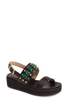 Isaac Mizrahi New York 'Bling' Studded & Crystal Embellished Leather Platform Sandal (Women) | Nordstrom