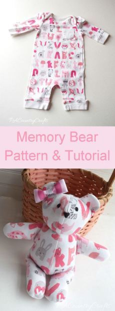 (9942) Use baby's going home from the hospital outfit to make a memory bear!  Free sewing pattern and tutorial.     Oh baby!
