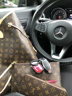 Louis Vuitton and Mercedes Inside Car, Gucci Outfits, Luxe Life, Workwear Fashion, Benz Car, Crystal Necklace, Luxury Cars, Louis Vuitton Monogram, Super Cars