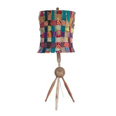 Could be made with any lampshade frame. Recycled Woven Lamp A playful and vibrant mashup of recycled kantha-embroidered fabric makes this lamp's shade a unique work of art. And with a base made of recycled wooden rolling pins, it's a quirky cool way to inject a little East Indian flair to your space.