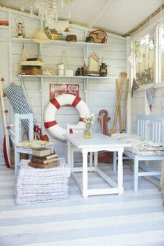 Washed Out Neutrals And Plank Walls - Coastal Guest Cottage Makeover !