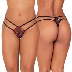 Tô Pronta Thong with Heart Embroidery. Mesh thong with elastic double strap waist, heart embroidery on the front and sequin detail. Strappy thong, mesh thong, Valentine's Day underwear, sexy underwear for women. #thong #lingerie