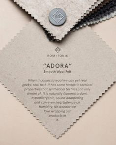 Adora - Smooth Wool Felt — Rom & Tonik Smooth as a Spanish serenade, and natural wool, Adora is a slim and versatile felt. Our favourite choice when a product needs a textile cover. Floor Screen, Sound Absorbing, Sound Proofing, Wool Felt, Productivity, Spanish, Smooth, Things To Come, Slim