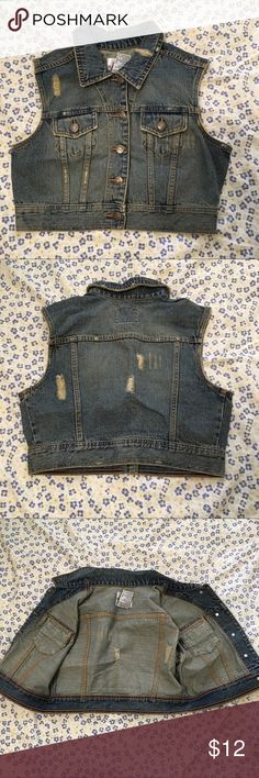 No Boundaries Distressed Denim Vest Barely used and needs a new home! Last picture shows armpit to armpit measurement. ⛔️ NO TRADES, NO PAYPAL, NO MERCARI, NO HOLDS ⛔️ smoke free, pet free home 😊 let me know if you have other questions 😊 PLEASE MAKE OFFERS THROUGH THE OFFER BUTTON.😊 No Boundaries Jackets & Coats Vests