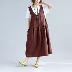Folded Loose Pocket Women Cotton Brown Suspender Dress