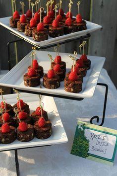 Razzle Dazzle Brownie Bites. Brownie bites and raspberries.