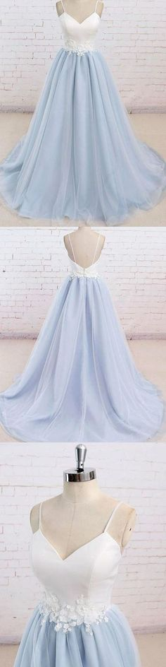 Spaghetti Straps Sweep Train Backless Light Blue Tulle Prom Dress H01392