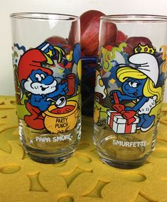 Papa Smurf and Smurfette Glasses 1983 Papa Smurf and Smurfette Glasses 1983