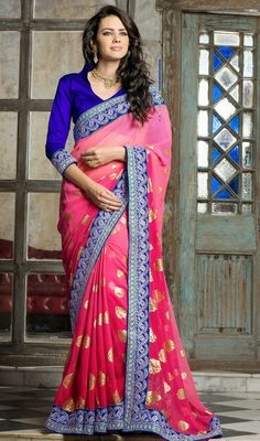 Pink Chiffon Embroidered Saree Price: Usa Dollar $98, British UK Pound £58, Euro73, Canada CA$106 , Indian Rs5292.