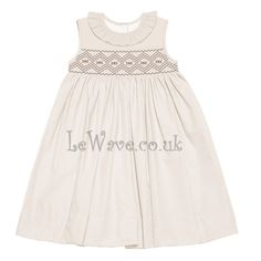 Beautiful cream smocked dress with tiny flower and geometric pattern http://lewave.co.uk/Detail-beautiful-cream-smocked-dress-with-tiny-flower-and-geometric-pattern---ld-088-4037.aspx