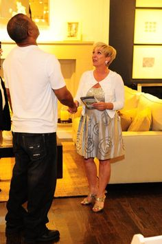Pottery Barn Event - Lise congratulating Harold Jackson winner of the 'Staged Right' contest.