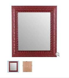Rustic Red Framed Mirror with Wide Moulding
