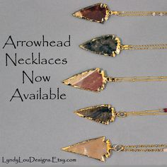 Beautiful long arrowhead necklaces added to my #Etsy shop. Use coupon code LyndyLou15 to get 15% off
