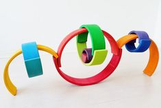 100 ideas to play the Large Wooden Rainbow Stacker Young Toddler Activities, Toddler Fun, Grimm's Toys, Grimms Rainbow, Rainbow Blocks, Wooden Rainbow, Handmade Wooden Toys, Stacking Toys, Waldorf Toys
