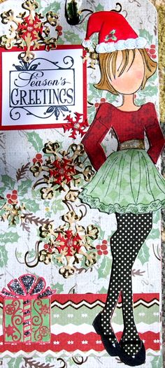 """Prima Doll Tag """"Season's Greetings""""- Handmade Paper Tag for a Girl, Book Mark, Use as a gift, red, green, Santa Hat by Smiles4Paper on Etsy"""