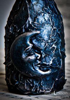 "tarryfailscorner:Mixed Media Aged Moon Bottle - Altered Art - Blue / Silver / Metallic - OOAK (via Mixed Media Aged Moon Bottle Altered Art by LibraMoonCreations) ""We all shine on…like the moon and the stars and the sun…we all shine on…come on and on and on…""   ~John Lennon"